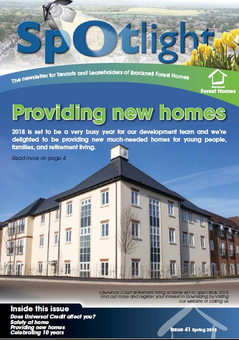 Spring 2018 Spotlight cover showing Lawrence Court building frontage