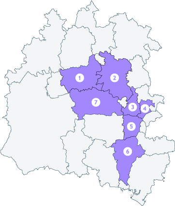 Map showing the areas we operate in