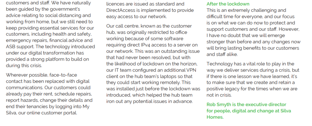 A screenshot of the housing technology article featuring Rob