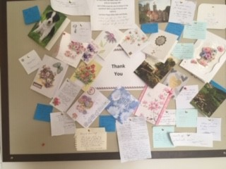 A notice board decorated with the thank you cards our independent living catering team received
