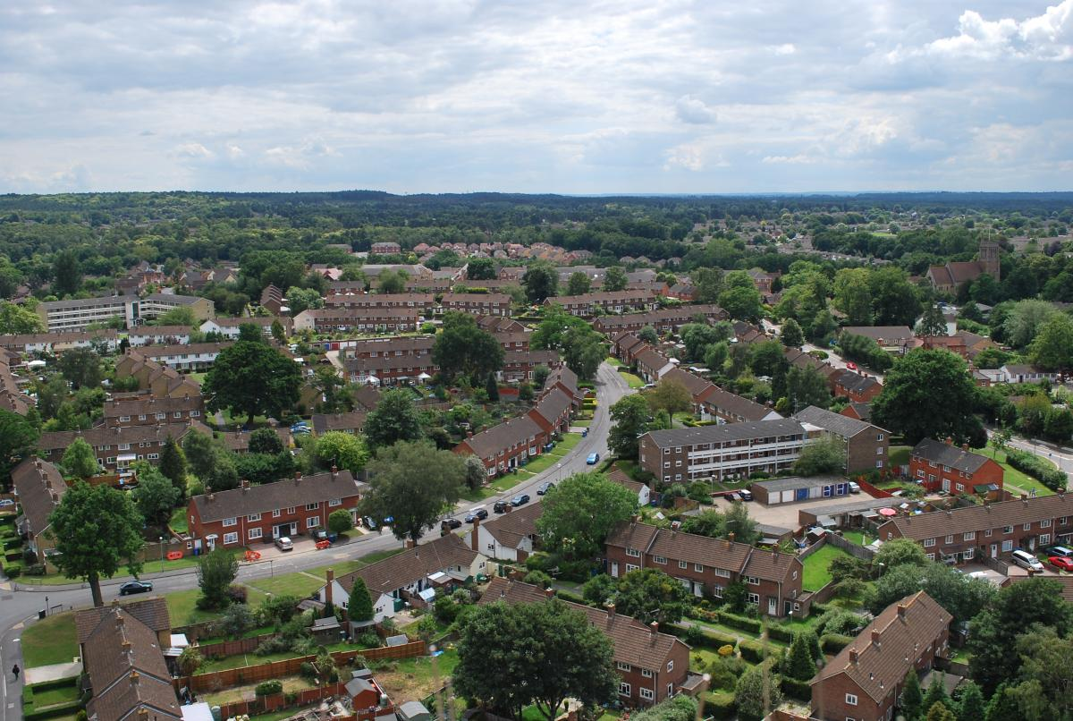 General skyline of Bracknell from the top of Point Royal showing houses