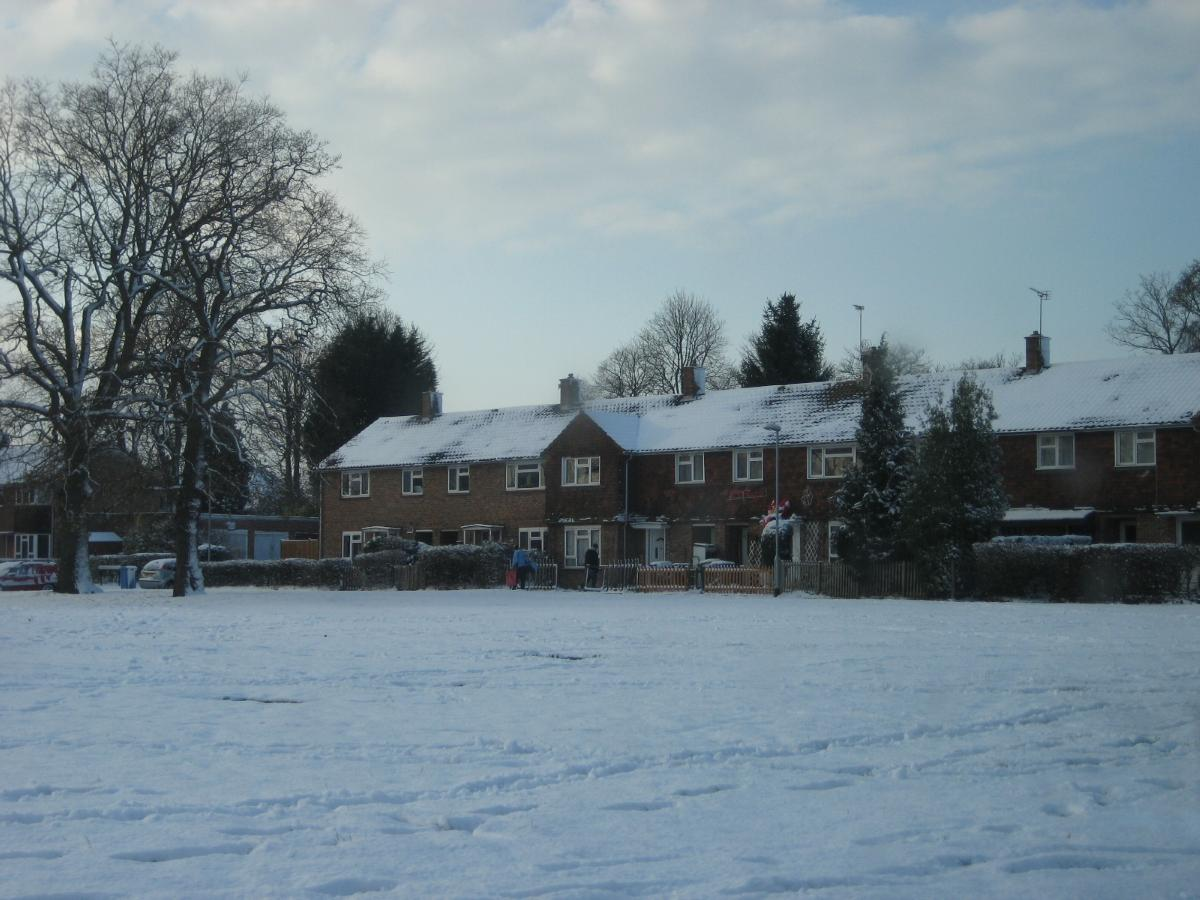 Winter view showing snow in Bracknell Forest