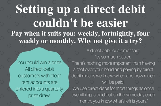 Direct debit promotion advert - pay by direct debit and you could win a prize