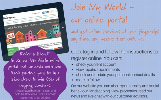 Join my world online secure portal for customers pop up advert